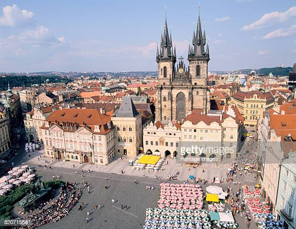 Old Town Square and Tyn Church Prague Czech Rebublic The Church of Our Lady of Tyn was built in the late 14th century The Danish astronomer Tycho...
