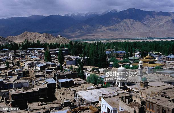 Old town with Indus Valley and Zanskar Range in Ladakh.