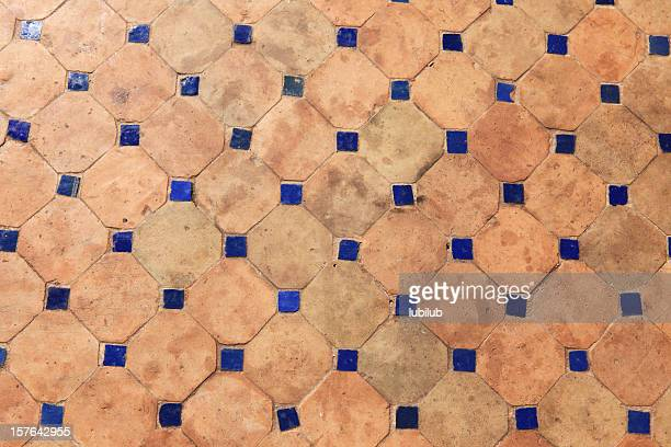 Old Traditional Moroccan Tiles on Floor