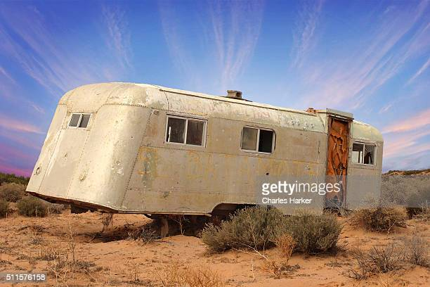 Old Trailer Rusting in Mexican Desert