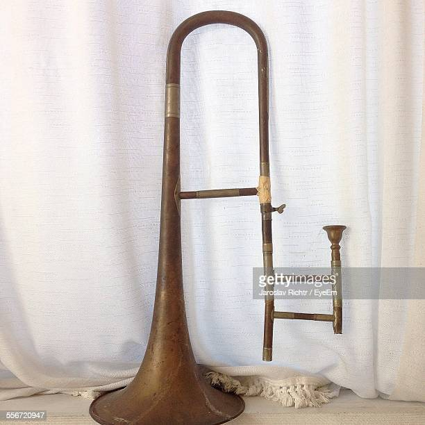 Old Trombone By Curtain At Home