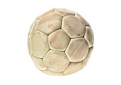Old, used and washed handball ball isolated on white. Old, used and obsolete sports equipment.