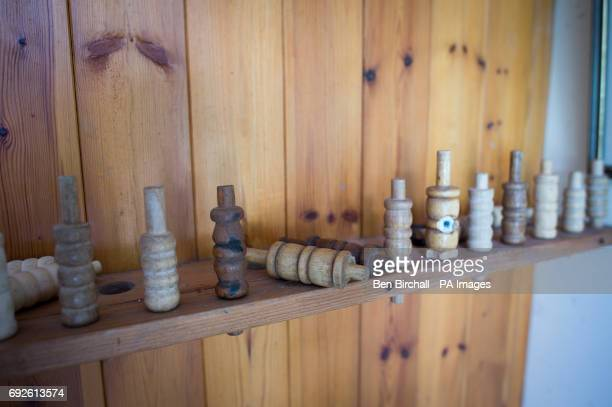 Old used cricket bails inside Lynton Lynmouth Cricket Club during an annual friendly match against Cravens Cavalier at the club based inside the...