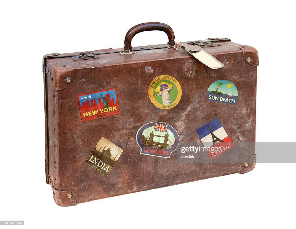 Old Used Suitcase With Travel Stickers Stock Photo Getty