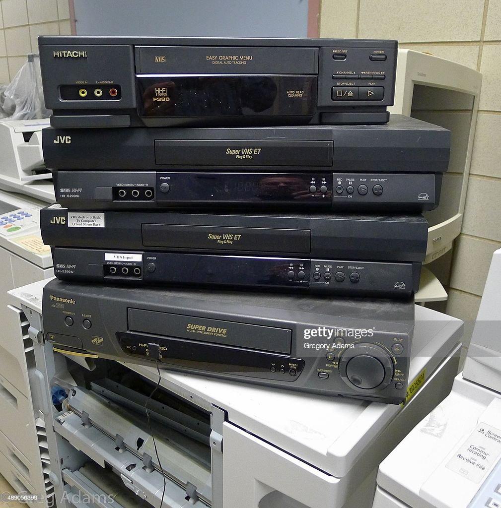 Old VCRs awaiting disposal