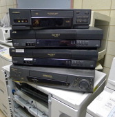 Old VCRs awaiting disposal