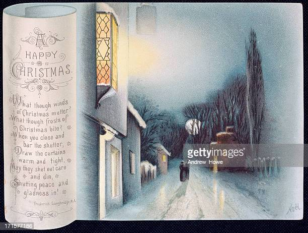 Old Victorian Christmas Card - Street Scene with Verse