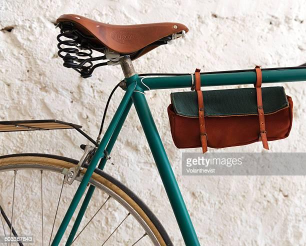 Old vintage green bicycle
