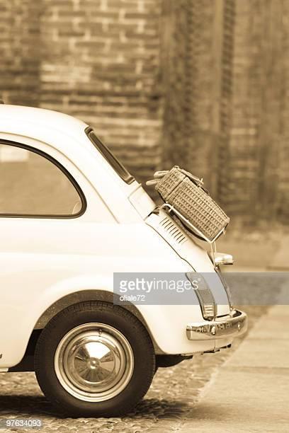 Old Vintage Italian Car, Sepia Toned