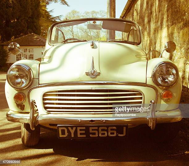 Old vintage Morris Minor with the roof down