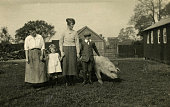 Vintage 1900's style photo of two ladies and two children standing in garden beside a full grown pig.