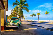 An old american car of the 50s in Cuba