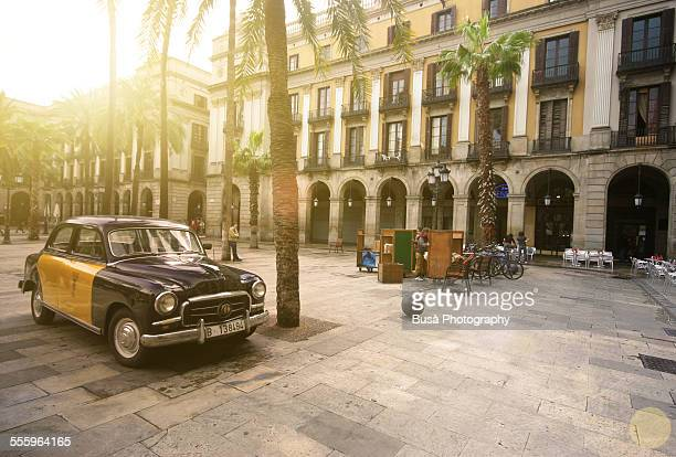 Old vintage Taxi in Plaza Real, Barcelona
