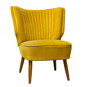 Old vintage yellow chair isolated on white background