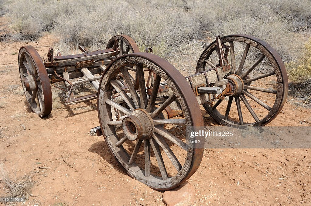 Old Wagon Wheels And Frame   Pipe Springs National Monument : Stock Photo