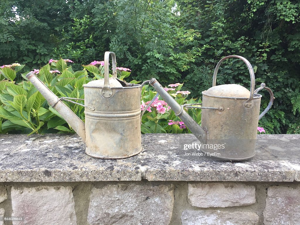 Old Watering Can Placed On Stone Wall Against Garden