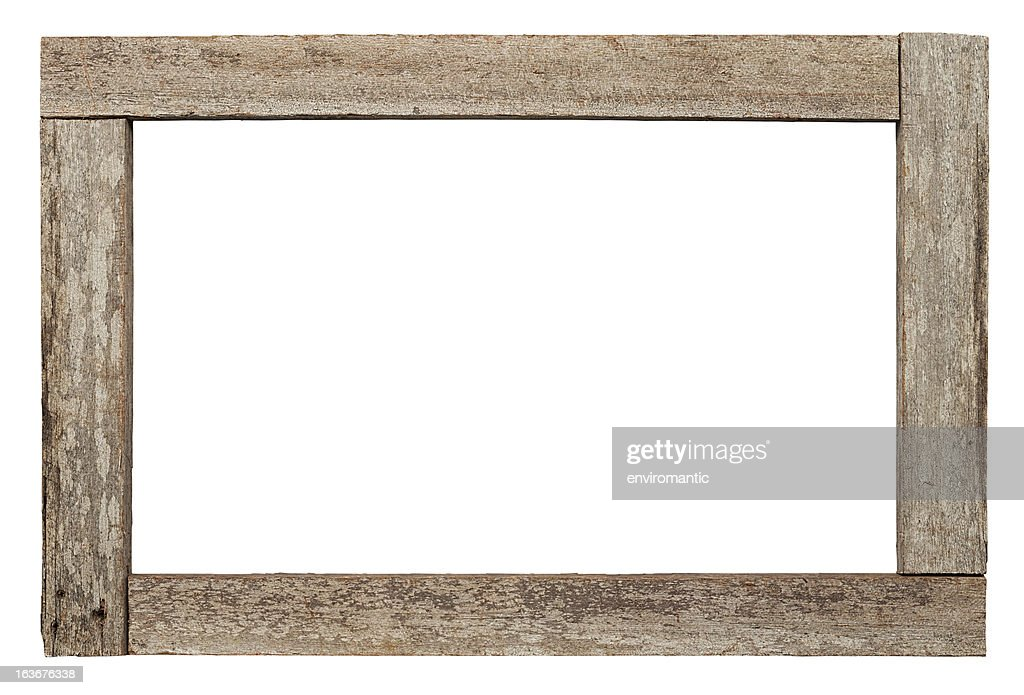 Old weathered natural wood border.