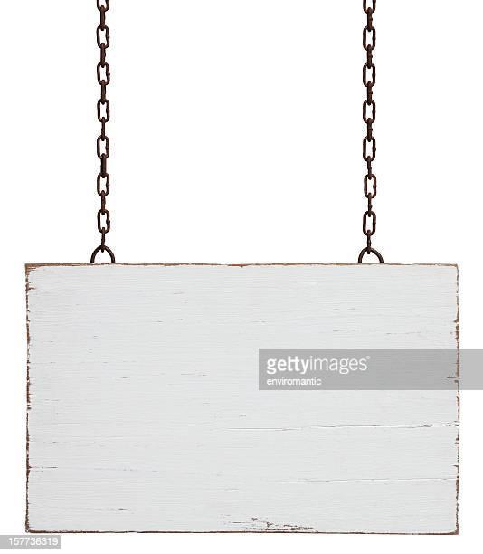 Alte verwitterte weißem Holz Schild.
