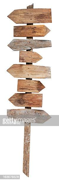 Old weathered wood sign boards.