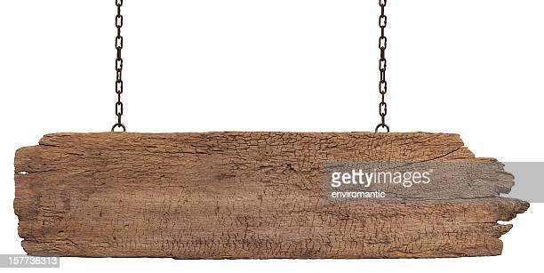 Alten verwitterten Holz Schild auf weißem Hintergrund