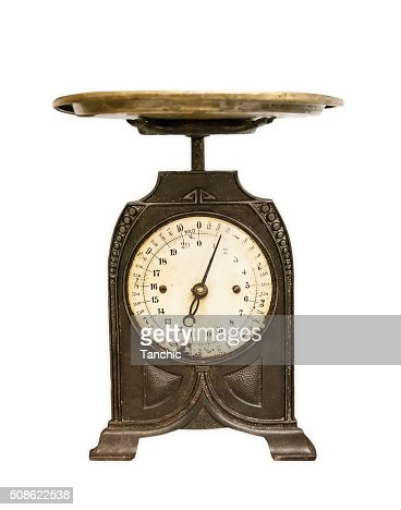 old weighing scales isolated : Stock Photo