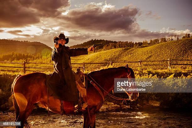 Old West Rustler Shooting From Horseback