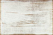 Old painted white wooden board background with worn edges.
