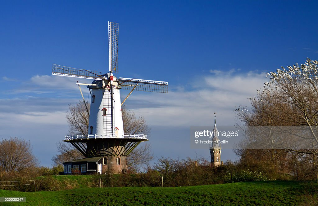 Old windmill next to Veere in Zeeland