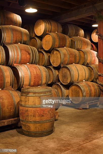 Old Wine Barrels Stacked in Winery Aging Cellar, Napa Valley