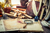 Old witcher labolatory full of scrolls and recipe