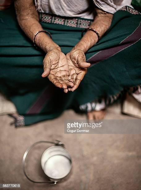 Old woman begging on the street, Varansi, India