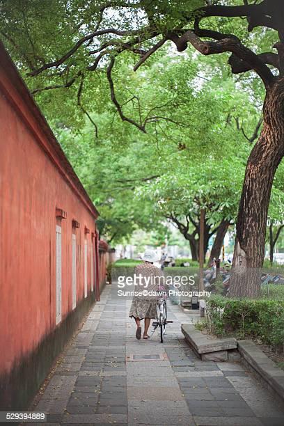 Old Woman Walking Along Temple Wall
