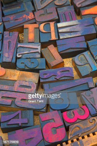 Old wood printing letters