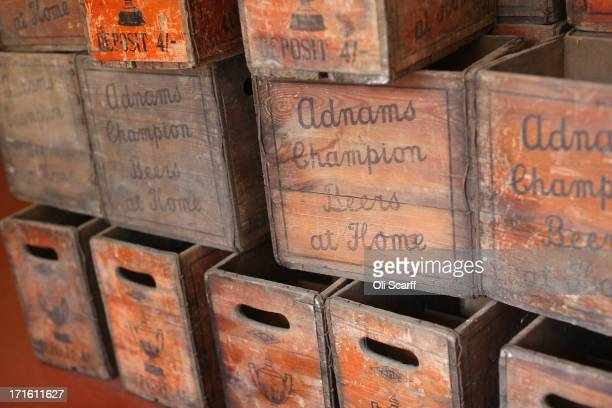 Old wooden beer crates on display in Adnams brewery on June 25 2013 in Southwold England Established in the small Suffolk coastal town of Southwold...