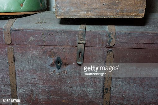 Old wooden chest : Stock Photo