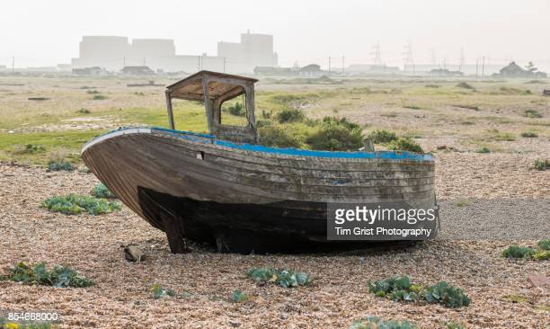 Old Wooden Fishing Boat and Dungeness Nuclear Power Station