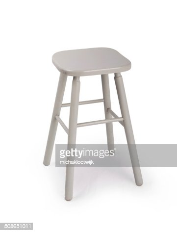 Old wooden grey stool isolated : Stock Photo
