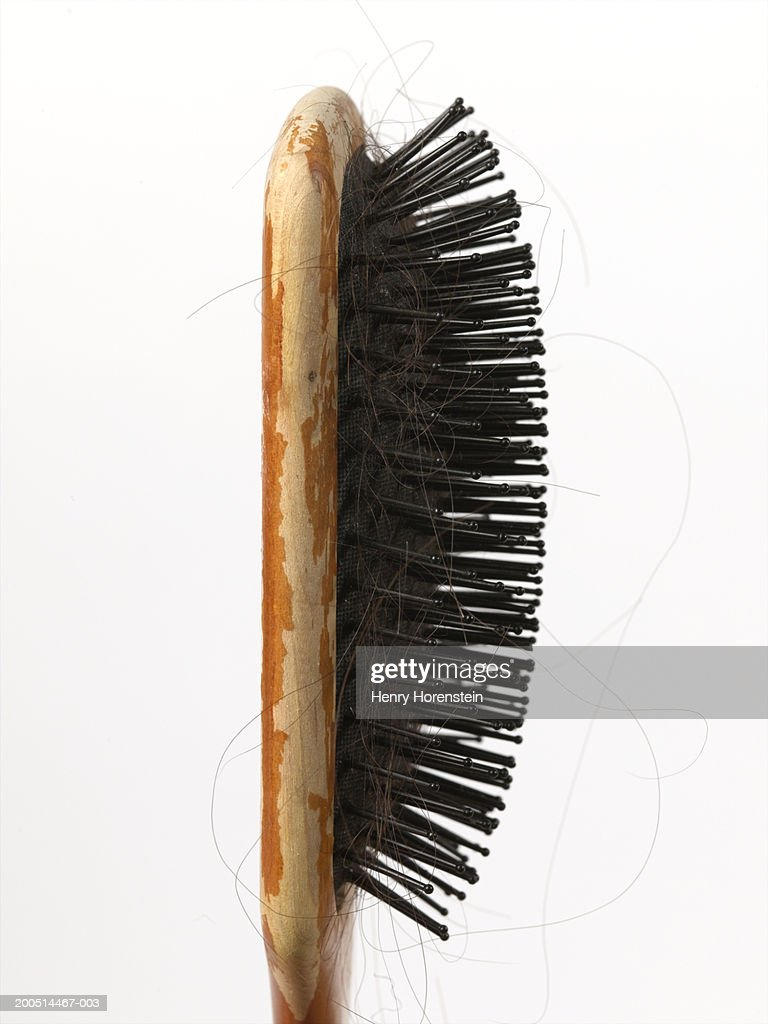 Old wooden hair brush with entangled hairs, side view of head : Stock Photo