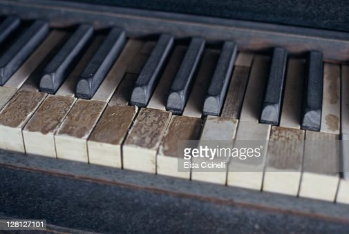 Old wooden piano keys : Stock Photo