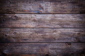 Old weathered wood plank with horizontal stripes shot directly above. Useful copy space for text and/or logo. Predominant color is brown. Low key DSRL studio photo taken with Canon EOS 5D Mk II and EF