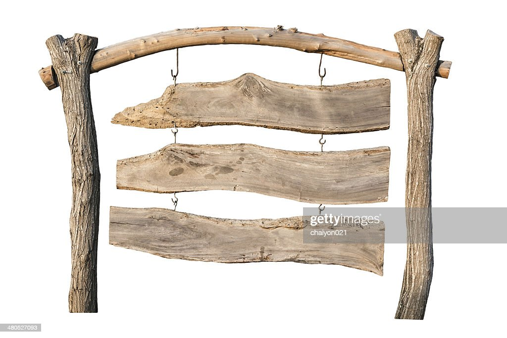 old wooden sign on white : Stock Photo