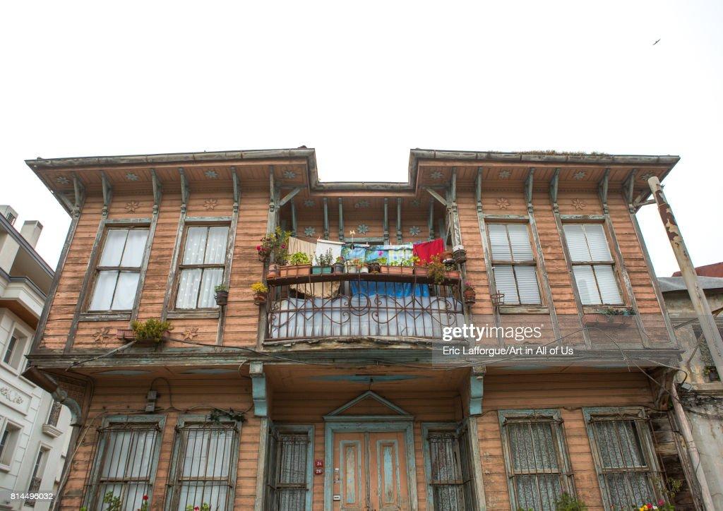 Old wooden style house with a balcony near the Bosphorus sea, Marmara Region, Istanbul, Turkey on April 27, 2014 in Istanbul, Turkey.