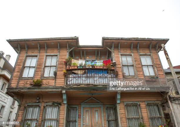 Old wooden style house with a balcony near the Bosphorus sea Marmara Region Istanbul Turkey on April 27 2014 in Istanbul Turkey