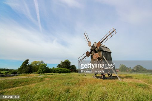Old wooden windmill on the island ��land, Sweden