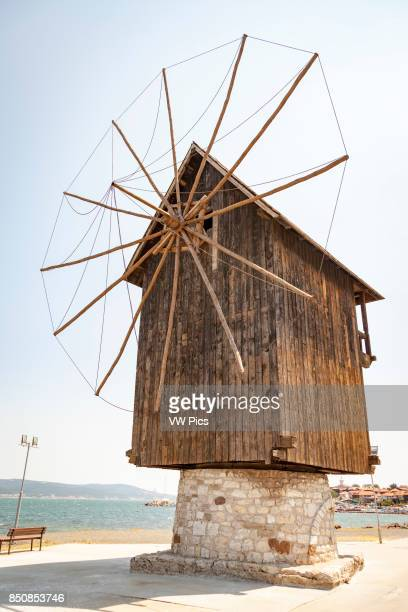 Old wooden windmill on the Isthmus Nessebar Bulgaria