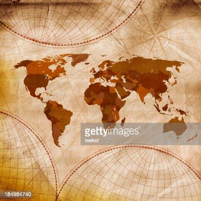 オールドワールドマップ茶色の色合いに白と