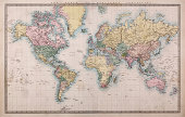Original old hand coloured map of the World on Mercators projection circa 1860, please note the countries are named as they were then i.e. Persia, Arabia and Siam etc. Joined from two pages of an atla