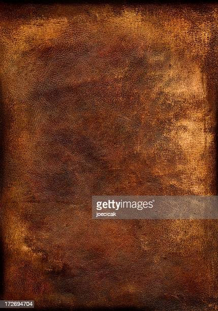 Old, worn brown leather background detailing