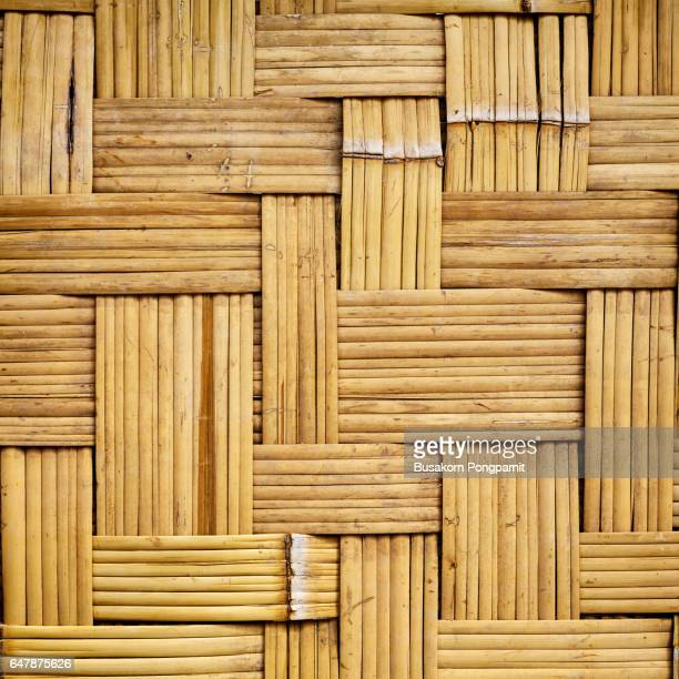 Old woven bamboo texture for background