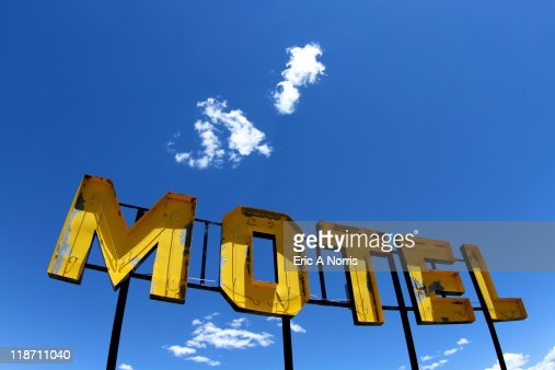 Old Yellow Motel Sign : Stock Photo